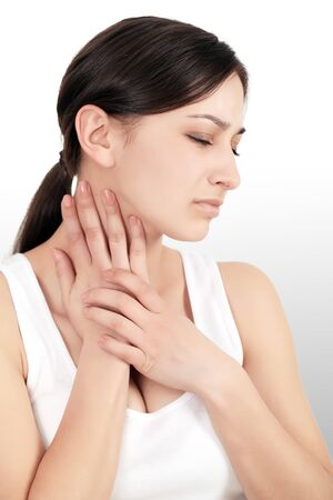 Neck Pain. Beautiful Woman Having Pain In Neck, Painful Feeling