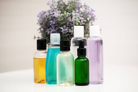 Shower supplies. Composition cosmetic products of spa treatment. Reklamní fotografie