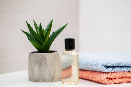 Shower supplies. Composition cosmetic products of spa treatment Reklamní fotografie