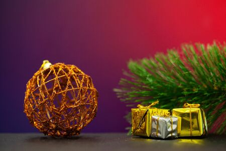 Christmas decorations with place for text on colored background Reklamní fotografie
