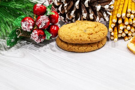 Christmas cookies and decoration on white background Reklamní fotografie