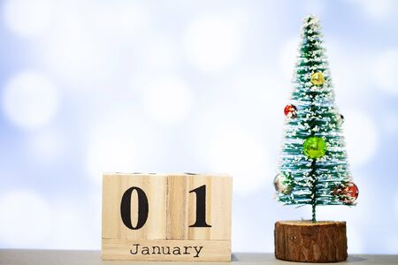 1 january and christmas decoration on blue background
