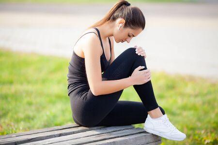 Woman Suffering From Pain In Leg After Workout Reklamní fotografie