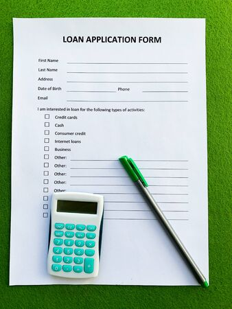 Document with title loan application form, top view