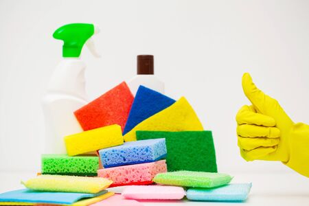 Different house cleaning product on white background.