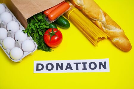 Donation package with food for people who need help