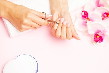 Beautiful woman hands with fresh french manicure. Imagens