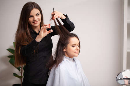 Professional hairdresser working with young woman in beauty salon. Archivio Fotografico