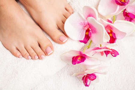 Relaxing french pedicure with a orchid flower Archivio Fotografico