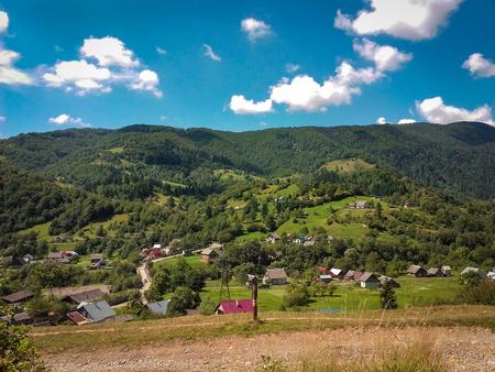 Carpatian summer landscape beautiful mountains with cloudy sky background Фото со стока