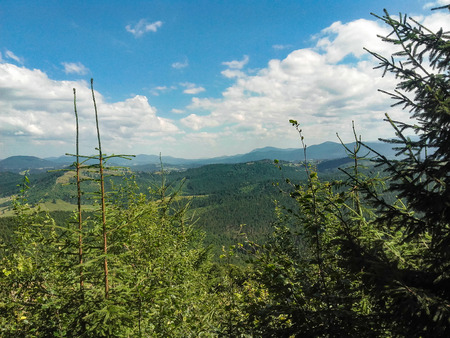 Carpatian summer landscape beautiful mountains with cloudy sky background Фото со стока - 97532369