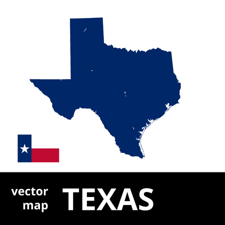 Texas vector map with state flag. Blue map on white background.