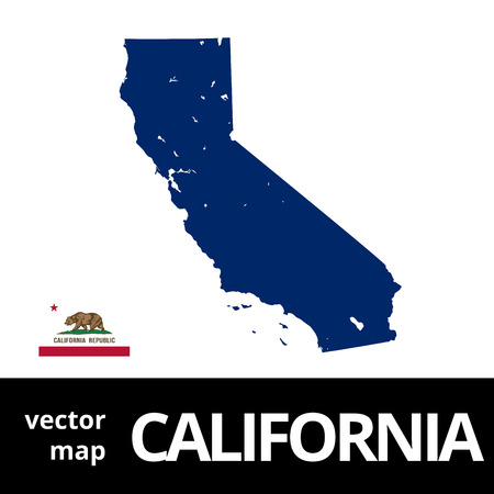California vector map with state flag. Blue map on white background.