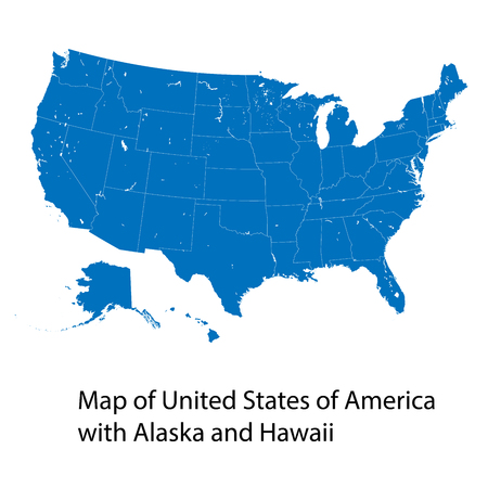 Vector map of United States of America with Alaska and Hawaii