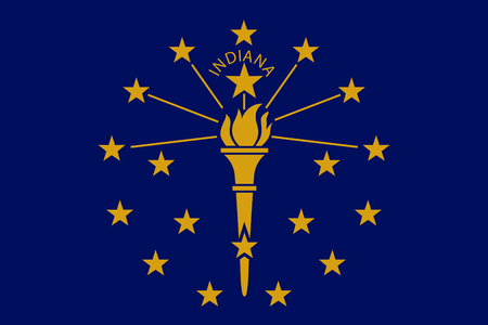 Vector flag illustration of Indiana state, Crossroads of America. United States of America.