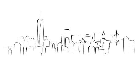 New York panorama. Hand drawned vector illustration