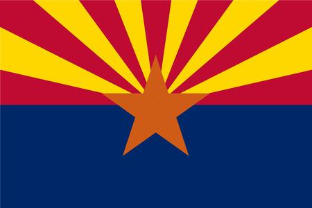 Vector flag of Arizona state, United States of America. Illustration