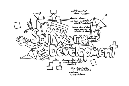 Software development, vector hand drawn illustration isolated on white background