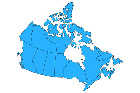Vector map of Canad with provinces and territories borders.