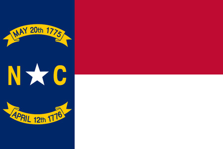 North Carolina vector flag. Vector illustration. United States of America. Raleigh