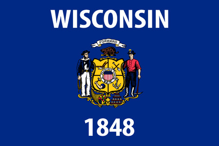 Wisconsin vector flag. Vector illustration. United States of America. Ilustracja