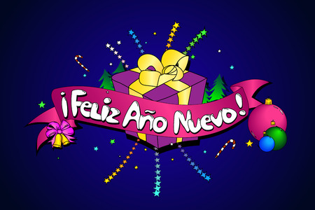 Feliz Ano Nuevo. Vector creative background. Happy New Year in Spanish language. Colorful line art Ilustração
