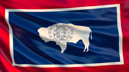 Wyoming state flag. Waving flag of Wyoming  state, United States of America. 스톡 콘텐츠