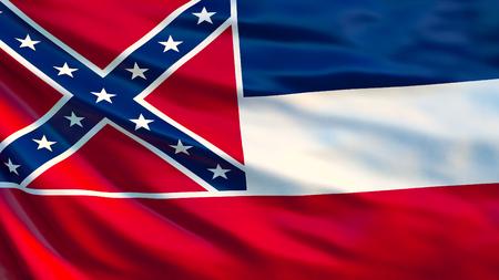 Mississipi flag. Waving flag of Mississipi state, United States of America. 3d illustration