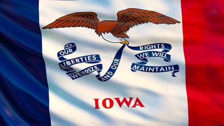 Iowa flag. Waving flag of Iowa state, United States of America. 3d illustration