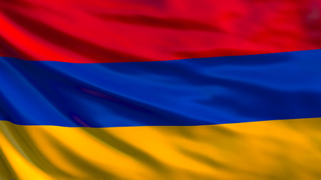 Armenia flag. Waving flag of Armenia 3d illustration. Yerevan