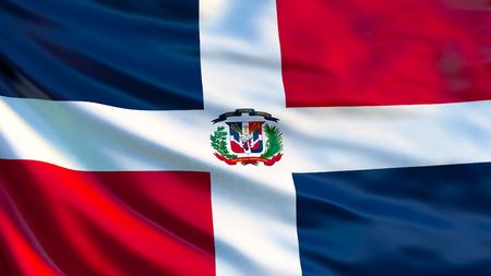 Dominican Republic flag. Waving flag of Dominican Republic 3d illustration. Santo Domingo Imagens