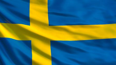 Sweden flag. Waving flag of Sweden 3d illustration. Stockholm Stock Photo