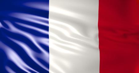 France flag in the wind. 3d illustration. Paris, Lyon, Marseille, Toulouse, Nice