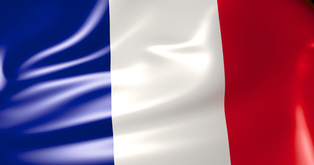 France flag in the wind. 3d illustration. Paris, Lyon, Marseille, Toulouse, Nice