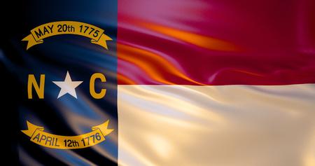 North Carolina flag in the wind . 3d illustration