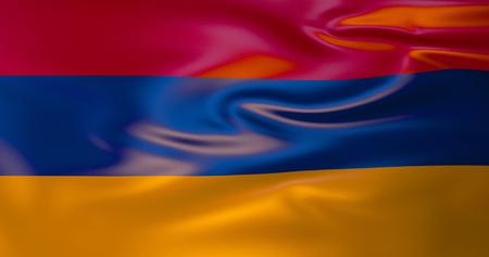 Armenia flag in the wind. 3d illustration. Yerevan Stock Illustration - 118464485