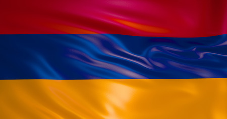 Armenia flag in the wind. 3d illustration. Yerevan