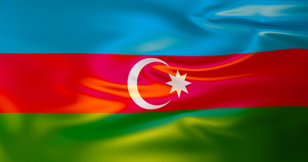 Azerbaijan flag in the wind. 3d illustration. Baku 스톡 콘텐츠