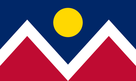 Denver official flag Colorado.United States of America. Wall Street of the West. Queen City of the Plains. The Mile High City.