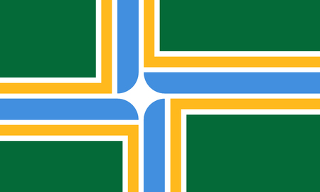Portland city official flag. Oregon state, United States of America. Rose City, Stumptown, PDX, Cascadia