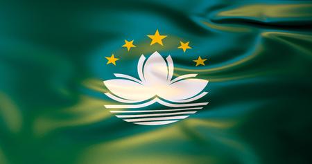 Makau flag. 3D illustration