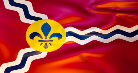 Saint Louis flag in the wind. 3d illustration. Missouri