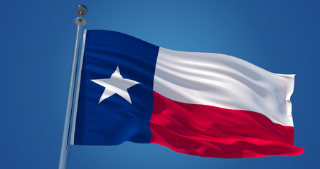 Fluttering silk flag of Texas, United States of America. Texas official flag in the wind against clear blue sky. 3d render