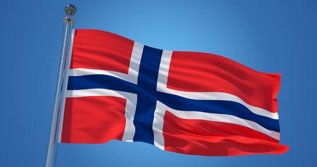 Flatternde Seidenflagge Norwegens. Norwegische offizielle Flagge im Wind gegen den klaren blauen Himmel. 3D-Rendering