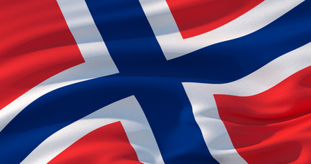 Fluttering silk flag of Norway in the wind, colorful background. Stock Photo