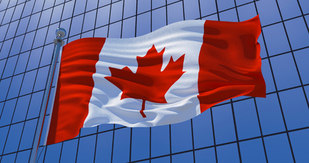 Canadian flag on skyscraper building background. Canada, Ottawa. 3d illustration