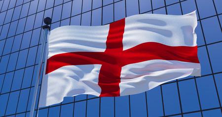England flag on skyscraper building background. 3d illustration 写真素材