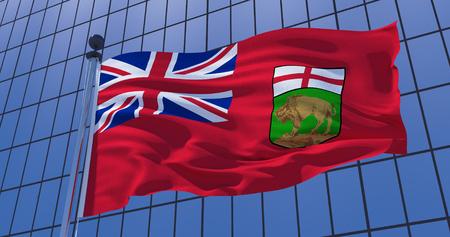 Manitoba flag on skyscraper building background. Canada. Toronto, Ottawa, Vancouver, Winnipeg. Business concept. 3d illustration