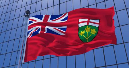 Ontario flag on skyscraper building background. Canada. Toronto, Ottawa, Vancouver, Winnipeg. Business concept. 3d illustration