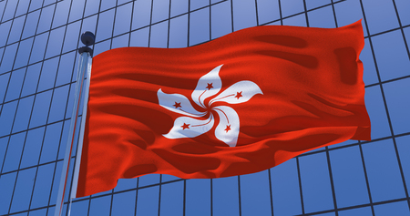 Hong Kong flag on skyscraper building background. Asia, Business concept. 3d illustration